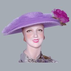 Vintage 1950s Lilac Wide Brim Hat Silk Rose