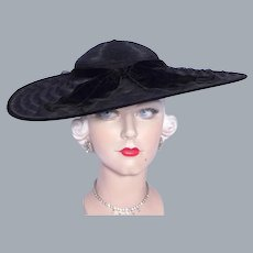 Vintage 1930s Black Cartwheel Hat Wide Brim