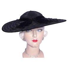 Vintage 1930s Black Cartwheel Hat Wide Brim