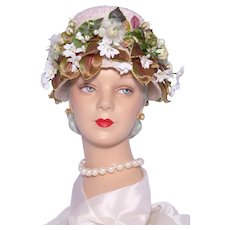 Vintage 1960s Blush Pink Floral Bucket Hat