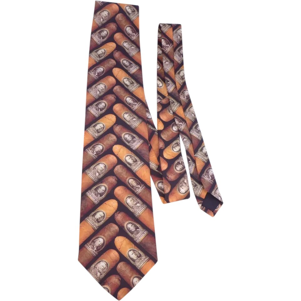 8442701f9d65 Ralph Marlin Cigar Money Band Necktie Tie 1997 : My Vintage Clothes Line |  Ruby Lane