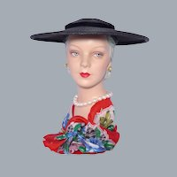 Vintage 1950s Black Straw Platter Hat by Wesco