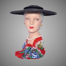 Vintage 1950s Black Straw Platter Hat by Wesco