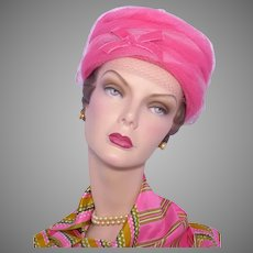 Vintage  1960s Pillbox Hat Hot Pink Tulle