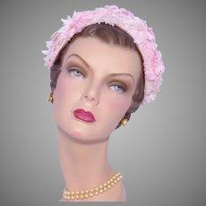 Vintage 1960s Pink Floral Hat