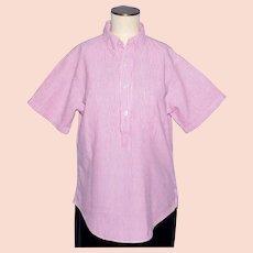 Vintage 1960s Penneys Towncraft Seersucker Ladies Blouse Pink and White
