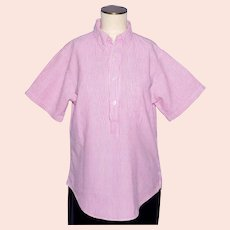 Vintage 1960s Penneys Towncraft Seersucker Ladies Blouse Pink and White