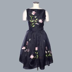 Vintage Late 1950s-Early1960s Dress Black Organza Embroidered Roses