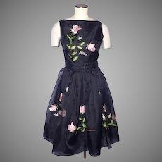 Vintage 1960s Dress Black Organza Embroidered Roses