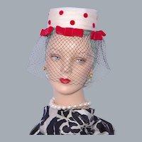 Vintage  1960s Lenore Marshall Hat Red Velvet Polka Dots Open Crown