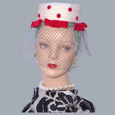 Vintage  1960s Lenore Marshall Hat Red Velvet Polka Dots Open Crown