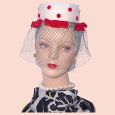 Vintage  1960s Lenore Marshall Hat Red Velvet Polka Dots and Bows