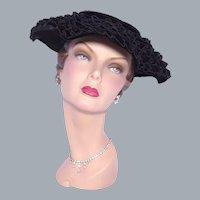 Vintage 1950s Black Velvet Hat Tiers of Ruffles