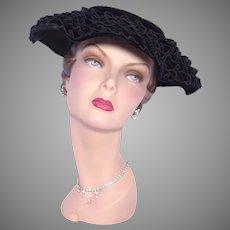 Vintage 1950s Black Velvet Hat Layers of Ruffles