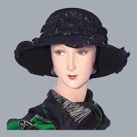 Black Wool Felt Hat Whittall & Shon 1990s