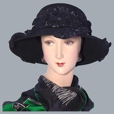 Black Wool Felt Hat Whittall & Shon 1990s