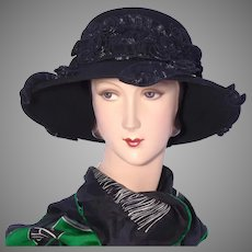 Whittall & Shon Black Wool Felt Hat 1990s