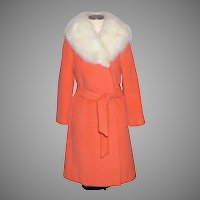 Vintage 1960s Charmossa Coat Bright  Tangerine Orange Wool Fox Fur Collar