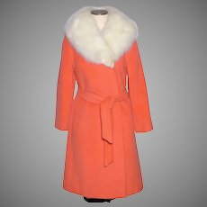 Vintage 1960s Charmossa Coat Bright  Tangerine Orange Wool Fox Fur Collar