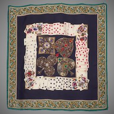 Silk Scarf Playing Cards Novelty Print Made By Casca