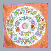 1990s Floral Silk Scarf Four Seasons and Months of the Year