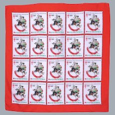 Vintage  1981 Norman Rockwell  Design Christmas Seal Scarf