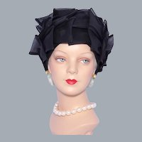 Vintage 1960s Bellini Black Bows Toque Hat Turban  Style