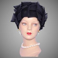 Vintage 1960s Bellini Black Bows Toque Hat Turban  Style