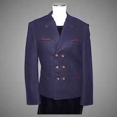 Vintage 1980s Bavarian Alpine Jacket Coat Ladies Navy Blue Wool Austria