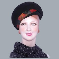Vintage 1960s Coronet  Bubble Beret Hat Black Velour Wool Felt Feather Detail