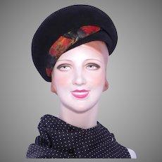 Vintage 1960s Coronet  Bubble Beret Hat Black Velour Wool Felt Feather Detail