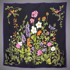 1990s Black Silk Twill Floral Scarf Birds and Flowers