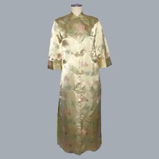 Vintage 1960s-1970s Chinese Silk Satin Evening Coat Made in Hong Kong