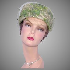 Vintage 1960s Pillbox Hat Dazzling Metallic Brocade