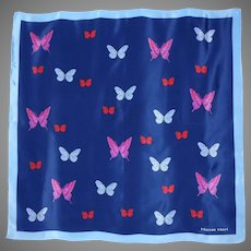 1990s Hanae Mori Blue Silk Scarf Butterflies