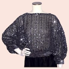 Vintage 1980s Black Sequined Disco Blouse Top Dead Stock