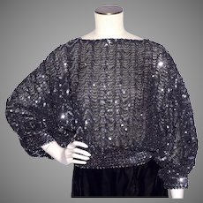 Vintage 1980s Black Sequined Disco Blouse Top Dead Stock