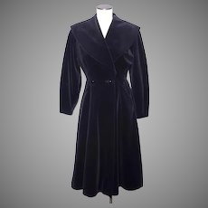 Vintage 1950s Princess Style Black Velvet Coat New Look