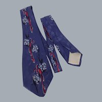 Vintage 1950s Beau Brummell Silk Floral Print Tie Necktie