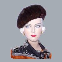 Vintage 1960s Betmar Mink Fur Beret Style Hat