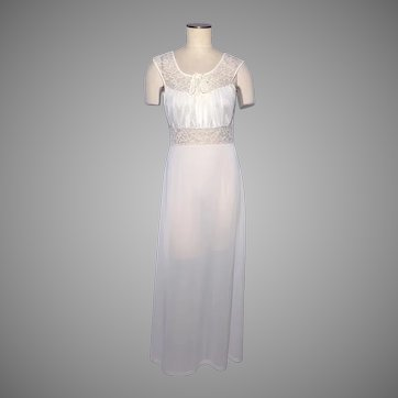 Vintage 1950s Radcliffe Nightgown Full Length White Nylon and Lace