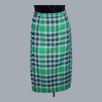 1980s Kinloch Anderson Wool Kilted Skirt Green Plaid Tartan Made in Scotland