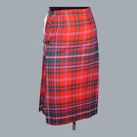 1980s Kinloch Anderson Wool Kilted Skirt Red Plaid Tartan Made in Scotland Deadstock