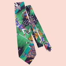 Nicole Miller Football Novelty Print Silk Necktie Tie 1991