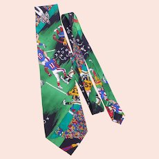 Nicole Miller Football Novelty Print Silk Necktie Tie 1991