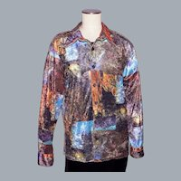 Vintage 1970s Positano Charles Lapson Velour Shirt Scenic Landscape Print
