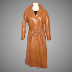 Vintage 1970s Full Length Ladies Leather Coat Made in Mexico for Skin Gear
