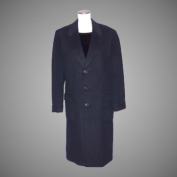 Vintage 1980s Hickey Freeman Mens Black Cashmere Wool Overcoat Sold at Larrimors