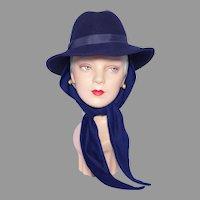 Vintage 1970s-80s Fedora Scarf Hat Navy Blue Wool Felt