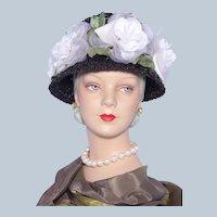 Vintage 1960s Black Straw Hat White Silk Roses
